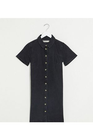 ASOS ASOS DESIGN Tall soft denim smock shirt dress in washed