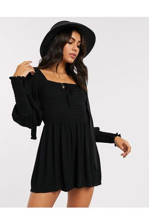 ASOS Playsuit with shirred bodice and sleeves in