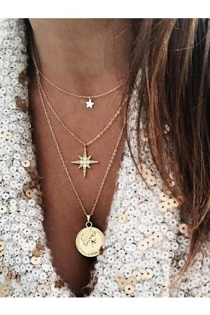YOINS Women Necklaces - Gold Star Coin Multi-layer Necklace