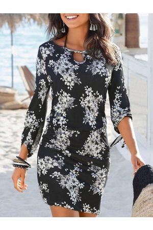 YOINS Casual Black Tie-up Design Random Floral Print Round Neck Dress