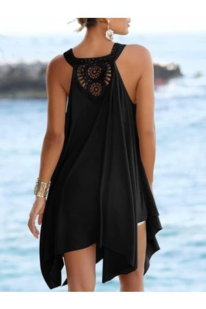 YOINS Casual Lace Patchwork Asymmetrical Hem V-neck Lace Sleeveless Midi Dress