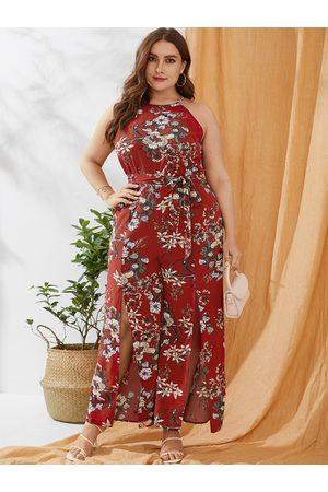 YOINS Plus Size Split Design Floral Print Sleeveless Jumpsuit
