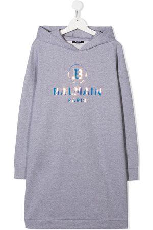 Balmain TEEN logo-print hooded dress