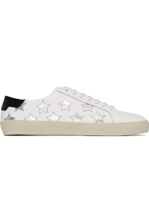 Saint Laurent And silver star appliqué leather sneakers
