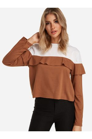 YOINS Coffee Flounced Details Color Blouck Round neck Long Sleeves T-shirts