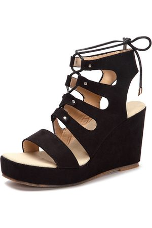 YOINS Suede Lace-up Design Wedge Sandals