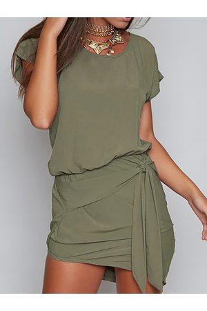 YOINS Self-tie Design Round Neck Short sleeves Dress in