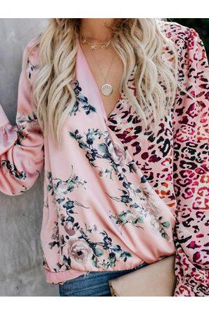 YOINS Pink Random Floral Print Leopard Patchwork V-neck Long Sleeves Blouse
