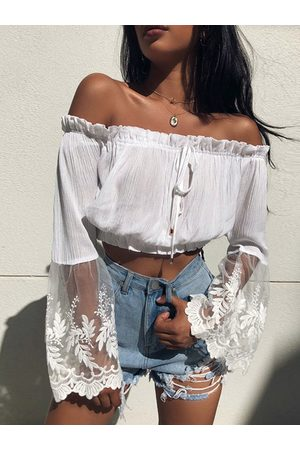 YOINS Lace Mesh Patchwork Off The Shoulder Shirt
