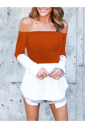 YOINS Rust & White Off Shoulder Long Sleeves T-shirt