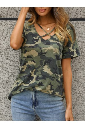 YOINS Army Green Camo Criss-cross V-neck Short Sleeves Tee