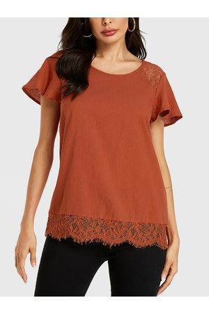 YOINS Rust Lace Patchwork Tie-up Design Ruffle Sleeves Tee