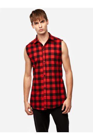 YOINS Men Tank Tops - Street Style Red Grid Zipper Design Classic Collar Sleeveless High-low and Splited Hem Men's Tank