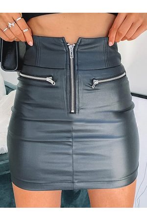 YOINS Zip Front Faux Leather Middle-Waisted Skirt