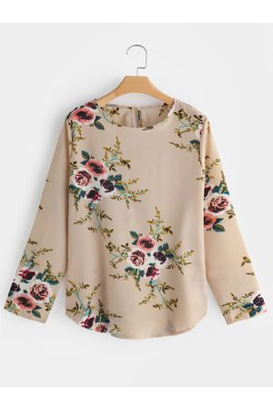 YOINS Button Keyhole Random Floral Print Round Neck Long Sleeves T-shirts