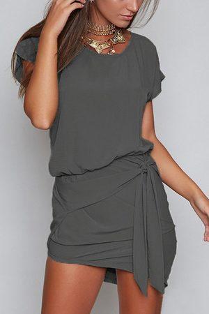 YOINS Dark Round Neck Self-tie Design Mini Dress