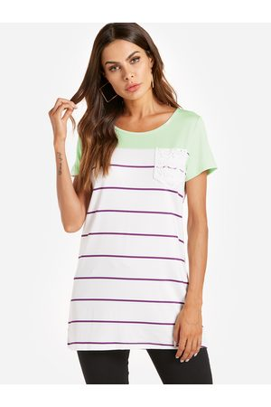 YOINS Stripe Pattern Stitching Short Sleeves T-shirts in Green