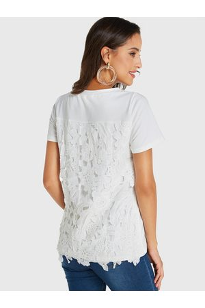 YOINS Lace Round Neck Short Sleeves Tee