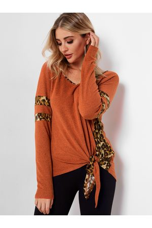 YOINS Knotted Leopard Stripe T Shirt