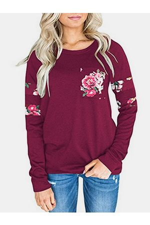 YOINS Floral Print Round Neck Long Sleeves T-Shirt