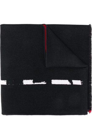 Alexander McQueen Intarsia-knit graffiti-logo scarf