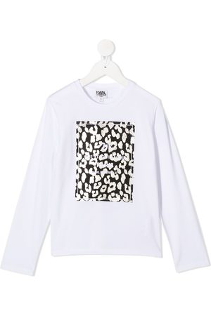 Karl Lagerfeld Logo leopard long-sleeve top