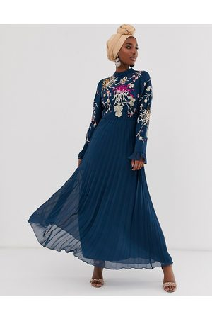 ASOS Embroidered pleated maxi dress with fluted sleeve in