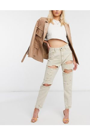 Missguided Extreme rip mom jeans in