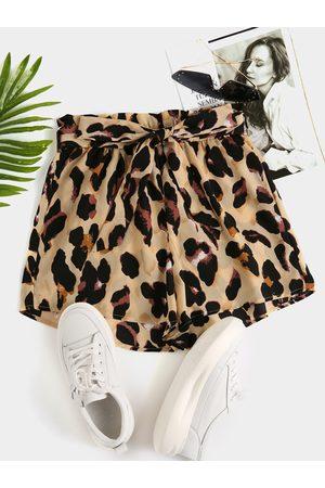 YOINS Leopard Belt design Chiffon Shorts