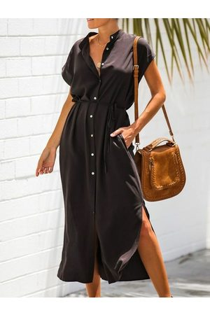 YOINS Button Design Stand Collar Midi Dress