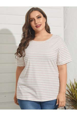 YOINS Plus Size Crew Neck Striped Short Sleeves Tee