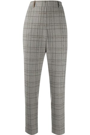 PESERICO SIGN Checked slim-fit tailored trousers