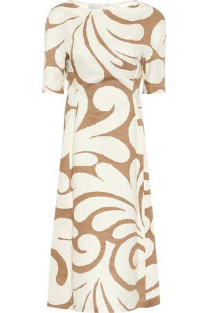 Marni Printed cotton and linen midi dress