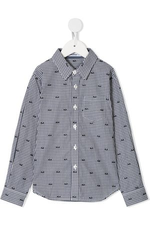 Familiar Gingham car embroidered shirt