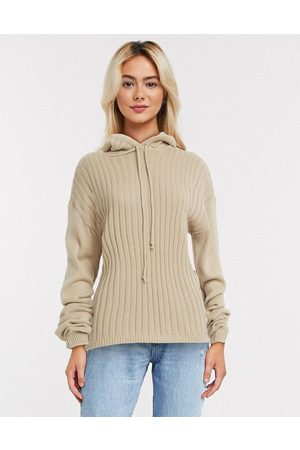 In The Style Women Sets - X Lorna Luxe lullaby ribbed hoody co ord in stone-Neutral