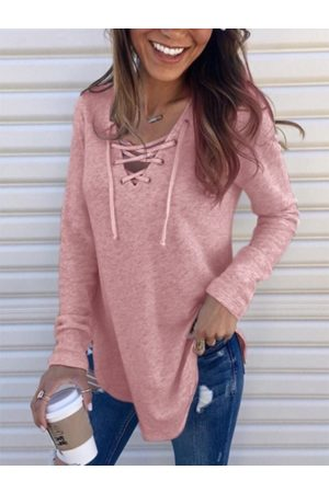 YOINS Lace-up Design V-neck Long Sleeves Tee