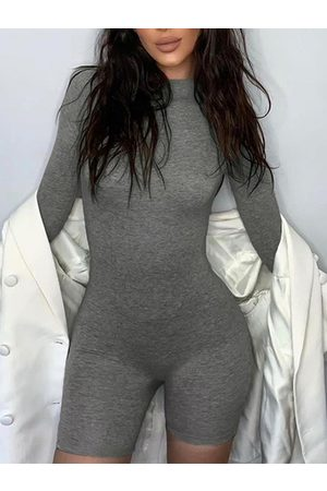 YOINS Crew neck Long sleeves Bodycon Sports Playsuits
