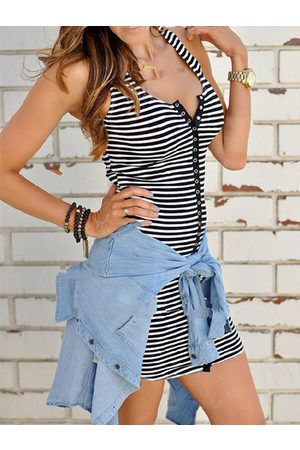 YOINS Casual Striped Front Button Round Neck Sleeveless Dress