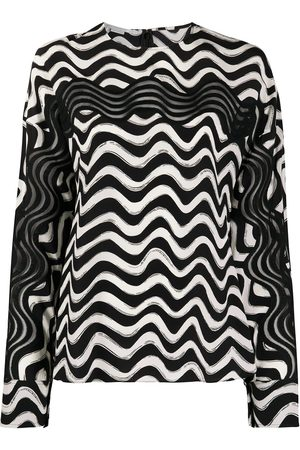 Stella McCartney Draped sleeves wave print blouse