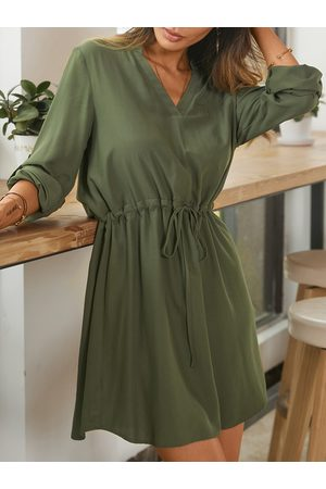 YOINS Drawstring V-neck Long Sleeves Shirt Dress