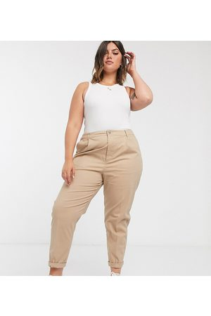 ASOS Women Chinos - ASOS DESIGN Curve chino trousers in stone