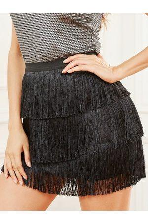 YOINS Black Tiered Design Fringe Elastic Waist Skirt