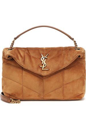 Saint Laurent Loulou Puffer Small suede shoulder bag