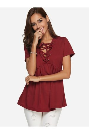 YOINS Lace Up Pleated Details V-neck Short Sleeves T-shirt