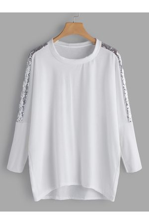 YOINS Handmade Beaded Details Round Neck Long Sleeves T-shirts