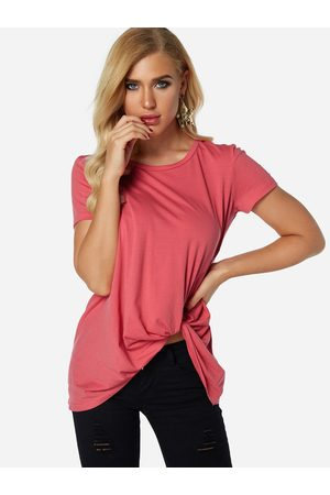 YOINS Rose Pleated Design Round Neck Short Sleeves T-shirts
