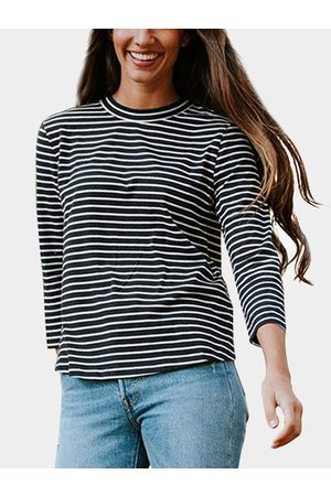 YOINS Cut Out Stripe Crew Neck Long Sleeves T-shirts