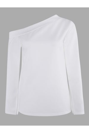 YOINS Slit Design Plain One Shoulder Asymmetrical Long Sleeves T-shirt