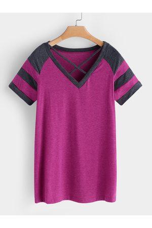 YOINS Rose Stripe V-neck Short Sleeves T-shirts