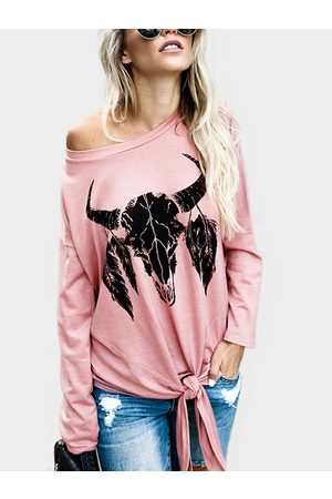 YOINS Cow Pattern Long Sleeves Tie Hem Fashion T-shirt